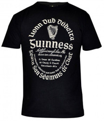 Guinness Black Distressed Gaelic Tee - 0811843012453