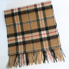 Lambswool Scarf Tan Plaid
