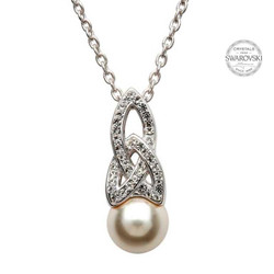 Celtic Pearl Pendant Adorned By Swarovski Crystals
