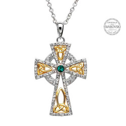 Trinity Gold Plated Cross Necklace Embellished With Swarovski Crystals