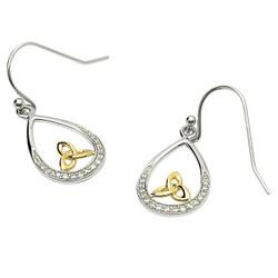 Silver Trinity Knot Stone Set Earrings