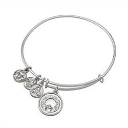CRYSTAL CLADDAGH CHARM BANGLE BRACELET BY SOLVAR