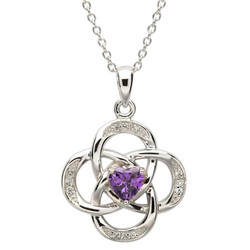February Celtic Birthstone Necklace