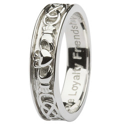Mens Sterling Silver Claddagh Celtic Wedding Ring
