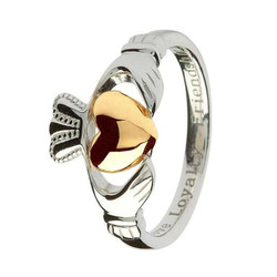 Claddagh Sterling Silver Ring with Real 10 Karat Gold Heart -