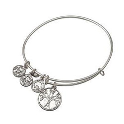 Silver Tone Tree Of Life Charm Bangle Bracelet