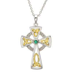 Celtic Sterling Silver Trinity Diamond and Emerald Cross