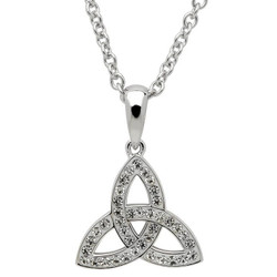 Celtic Trinity Knot Necklace Adorned with Swarovski Crystals