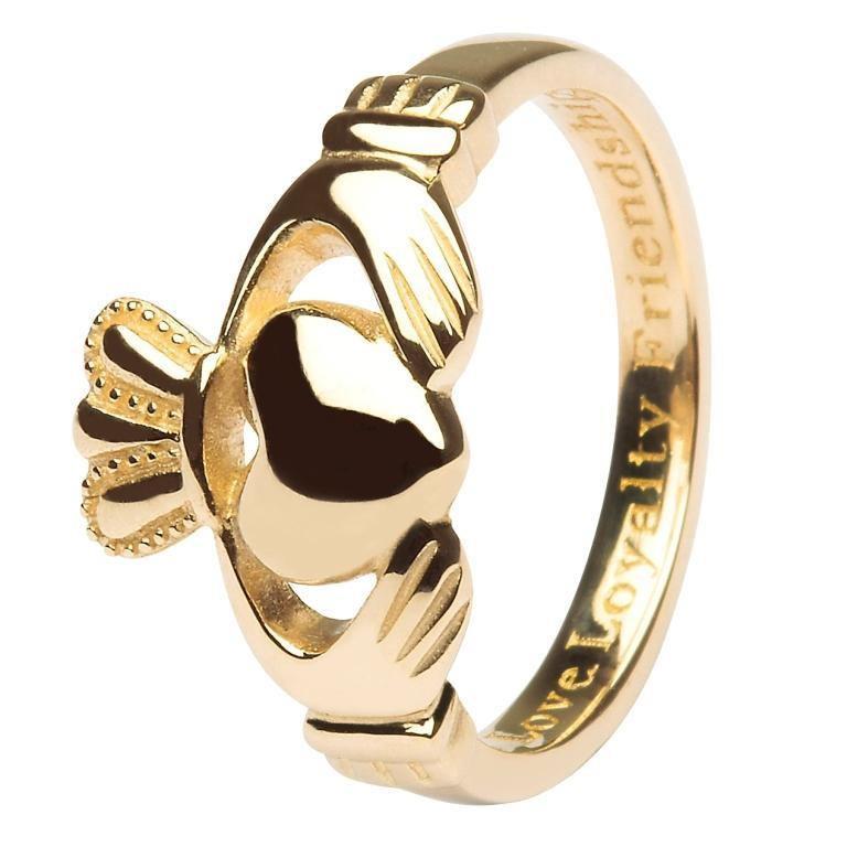 10 Karat Gold Ladies Claddagh Ring Irish Womens Jewelry