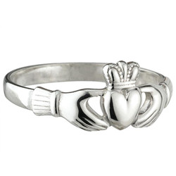 Sterling Silver Maids Heavy Claddagh Ring