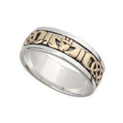 LARGE STERLING SILVER AND 10K GOLD CLADDAGH WITH CELTIC WEAVE BAND