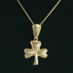 Shamrock Pendent - 10k Gold with Chain -