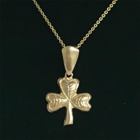 10k shamrock pendant necklace irish gold jewelry shamrock pendent 10k gold with chain aloadofball Images