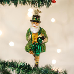 Irish Santa Blown Glass Ornament - 0729343402011