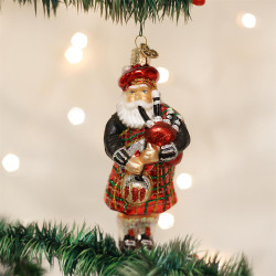 Highland Santa Blown Glass Ornament - 0729343401397