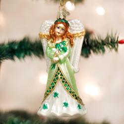 Irish Angel Blown Glass Ornament - 0729343102188