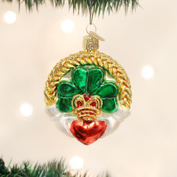 Claddagh Blown Glass Ornament - 0729343360816