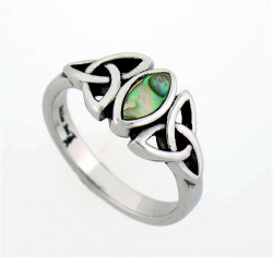 Stainless Steel Abalone Trinity Knot Ring -