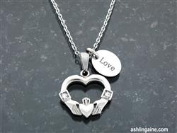 """I Give You My Heart"" Claddagh Charm Necklace -"