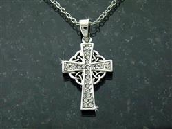 Pewter CZ Celtic Cross Necklace -