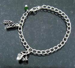 """A Celebration of Irish Dancing"" Dance shoes Charm Bracelet with Emerald Cubic Zircon -"