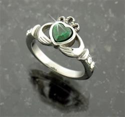 "Stainless Steel ""A Touch of Ireland"" Claddagh Ring -"