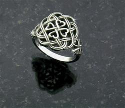 Stainless Steel Eternity Love knot Celtic Shamrock Cross Ring -