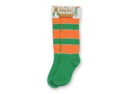 Green and orange striped Irish socks
