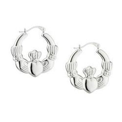 Sterling Silver Creole Claddagh Earrings Medium - 5390496051903