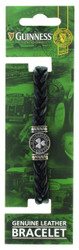 Guinness Ireland Black Leather Shamrock Bracelet - 5390711607588