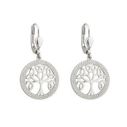 STERLING SILVER CUBIC ZIRCONIA TREE OF LIFE DROP EARRINGS