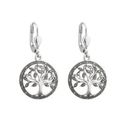 STERLING SILVER MARCASITE TREE OF LIFE DROP EARINGS