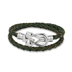 Rhodium Shamrock Leather Wrap Bracelet