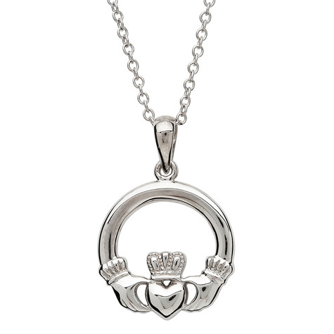 Silver small claddagh necklace irish childrens jewelry sterling silver claddagh necklace small aloadofball Image collections