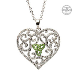 Heart Necklace Encrusted With Peridot And White Swarovski Crystals