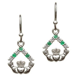 Silver Claddagh CZ Stone Set Earrings