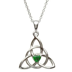 Celtic Trinity Silver Stone Set Necklace