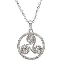 Silver Celtic Swirl Encrusted With White Swarovski Crystal