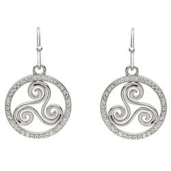 Silver Celtic Swirl Earrings Encrusted With White Swarovski Crystal