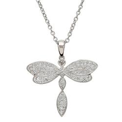 Silver Celtic Trinity Dragon Fly Embellished With White Swarovski Crystal