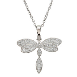 Silver Celtic Trinity Dragon Fly Embellished With White Swarovski Crystal