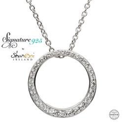 Silver Circle Pendant Embellished With White Swarovski Crystal