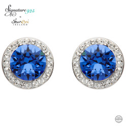 Round Halo Silver Earrings Adorned With Sapphire and White Swarovski Crystals