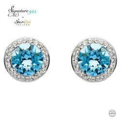 Round Halo Silver Earrings Adorned With Aquamarine and White Swarovski Crystals