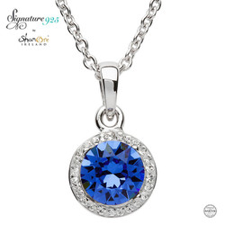 Round Silver Halo Pendant Adorned With Sapphire and White Swarovski Crystals