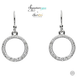 Silver Circle Earrings Embellished With White Swarovski Crystal
