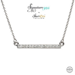 Sterling Silver Necklace Adorned With White Swarovski Crystal
