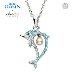 Shanore Dolphin Pendant w/ Aqua Crystals