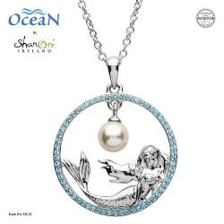 Shanore Mermaid Pendant w/ Aqua Crystals