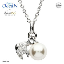 Shanore Fish Pendant w/ Crystals and Pearl